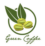 Green coffee label Stock Images