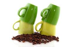 Green coffee mugs Royalty Free Stock Photos