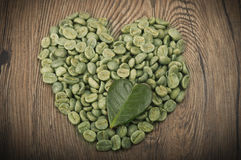 Green coffee seeds Stock Images