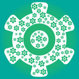 Green cog wheel with many small cogs inside Royalty Free Stock Image