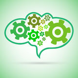 Green Cogwheel chain in a brain Royalty Free Stock Image