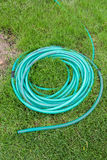 Green coiled rubber hose at the Lawn Stock Images