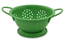 Green Colander On White. Green Colander Isolated On White Background Stock Photo