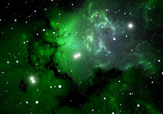Green cold clouds in the emission nebula. Illustration Stock Image