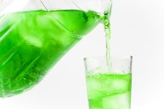 Green cold drink poured a glass Stock Images