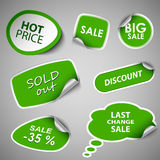 Green collection stickers sale discount template. Vector eps 10 stock illustration