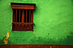 Green Colonial Wall. An old green colonial wall in the historic center of Bogota, Colombia Royalty Free Stock Photos