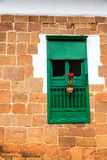 Green Colonial Window Stock Photography