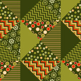 Green color abstract background in patchwork style. Seamless pattern vector illustration. repeatable peasant style patch fabric motif Royalty Free Stock Image