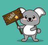 Green color background with cute kawaii animal koala standing with wooden sign hello and star. Vector illustration Stock Photography