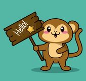 Green color background with cute kawaii animal monkey standing with wooden sign hello and star. Vector illustration Stock Photos