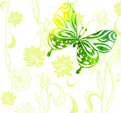 Green color background with watercolor butterflies and flowers Stock Photo