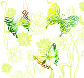 Green color background with watercolor butterflies and flowers Stock Photography