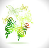 Green color background with watercolor butterflies and flowers Stock Image