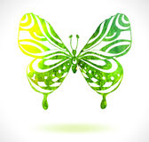 Green color background with watercolor butterfly Royalty Free Stock Photos