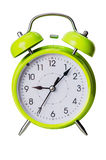 Green color clock isolated on a white Stock Image