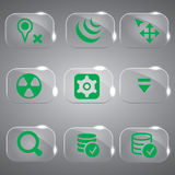 Green Color Glass icons Vector Set. Green Set of 9 general vector icon symbols Royalty Free Stock Image