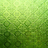 Green color glass with thai pattern Stock Photography