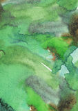 Green color grainy large watercolor background, hand drawn with liquid dye and brush on watercolor paper. Stains, splashes, brush Stock Image