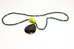 Green color handmade necklace Stock Image