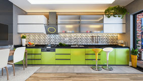 Green color kitchen design decor idea Stock Image