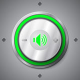 Green color light volume control button Royalty Free Stock Image
