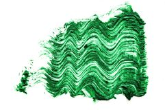 Green color Mascara brush stroke on withe. Background Royalty Free Stock Images