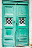 Green color, old style door Stock Image