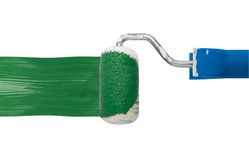 Green color paint roller Stock Photos