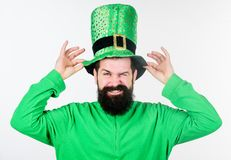 Green color part of celebration. Myth of leprechaun. Happy patricks day. Man bearded hipster wear green clothing and hat. Patricks day. Global celebration of royalty free stock images