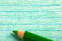 Green color pencil with coloring Royalty Free Stock Photography
