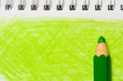 Green color pencil with coloring Stock Photography