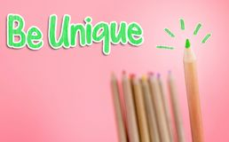 Green color pencil stick out for Unique. Green color pencil stick out for Being Unique Royalty Free Stock Images