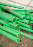 Green color plastic tubes for industry Royalty Free Stock Photos