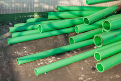 Green color plastic tubes for industry Royalty Free Stock Image