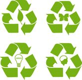 Green color recycle Icon Collection. Can use for buttons and web graphics Royalty Free Stock Photography