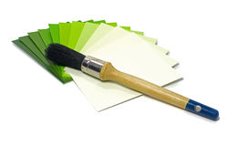 Green color samples of painting Stock Image