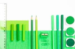 Green color school supplies Stock Photo