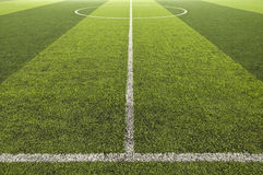 Green color Soccer field. At center line Royalty Free Stock Photography