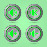 Green color sound button Stock Image