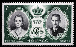 Stamp printed in Monaco with portrait of Grace Kelly and Prince Rainier. Green color stamp printed in Monaco with portrait of Grace Kelly and Prince Rainier to Stock Photos