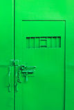 Green color steel door Royalty Free Stock Photo