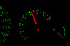 Green color tachometer Royalty Free Stock Photos