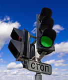 Green color on the traffic light Stock Images