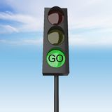 Green color on the traffic light Stock Image