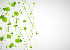 Green color wave with leaves. Royalty Free Stock Images