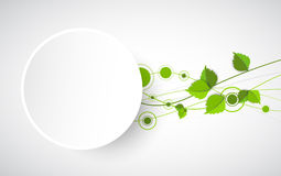 Green color wave with leaves. Royalty Free Stock Photos
