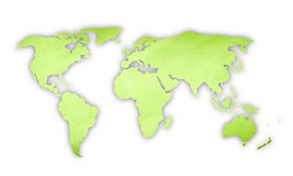 Green color world map illustration Stock Photo