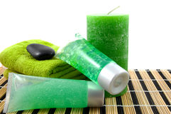 Green colored bathroom accessory for spa Stock Image