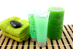 Green colored bathroom accessory for spa Stock Images